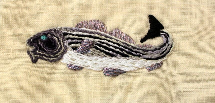Codfish in Surface Embroidery
