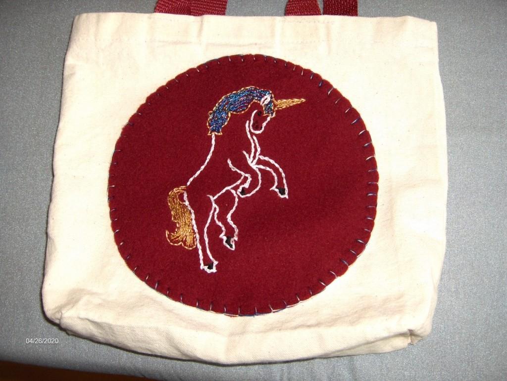 Kathy Day Unicorn on carry bag