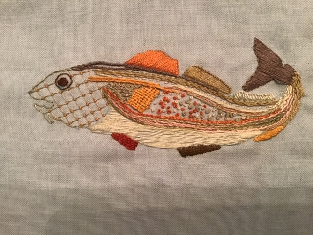 Codfish in Crewel embroidery